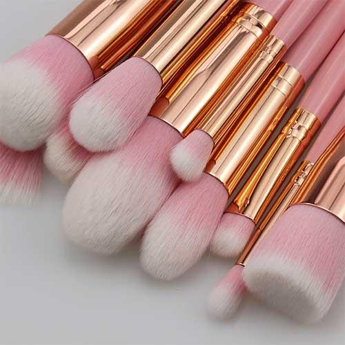 Pink Gold Makeup Foundation Eye shadow Brushes Kit 15 Pcs